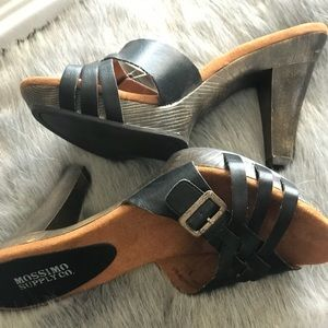Black Strappy Sandals with faux wood heel